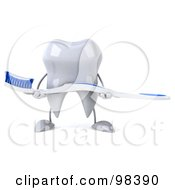 Royalty Free RF Clipart Illustration Of A 3d Dental Tooth Character Holding A Toothbrush In Front Of His Body by Julos