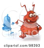 Royalty Free RF Clipart Illustration Of A 3d Rodney Germ Character Getting Chased By A Condom