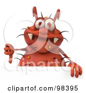 Royalty Free RF Clipart Illustration Of A 3d Rodney Germ Character Holding A Thumb Down Over A Blank Sign