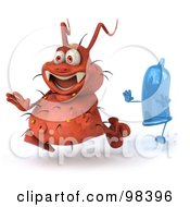 Royalty Free RF Clipart Illustration Of A 3d Rodney Germ Character Getting Chased With A Condom
