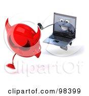 3d Black Laptop Character Chasing A Devil