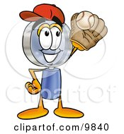 Clipart Picture Of A Magnifying Glass Mascot Cartoon Character Catching A Baseball With A Glove by Toons4Biz