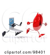 Royalty Free RF Clipart Illustration Of A 3d White Laptop Character Chasing A Devil