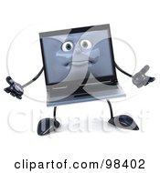 3d Black Laptop Character Shrugging