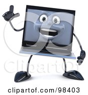 3d Black Laptop Character Holding One Hand Up
