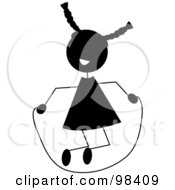 Royalty Free RF Clipart Illustration Of A Black Silhouetted Stick Girl Playing With A Jump Rope by Pams Clipart