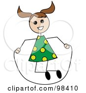 Royalty Free RF Clipart Illustration Of A Brunette Caucasian Stick Girl Playing With A Jump Rope by Pams Clipart