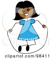 Royalty Free RF Clipart Illustration Of A Hispanic Stick Girl Playing With A Jump Rope