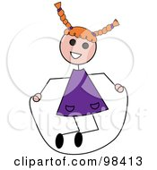 Royalty Free RF Clipart Illustration Of A Red Haired Caucasian Stick Girl Playing With A Jump Rope by Pams Clipart