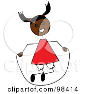 Royalty Free RF Clipart Illustration Of A Black Stick Girl Playing With A Jump Rope