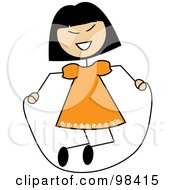 Royalty Free RF Clipart Illustration Of An Asian Stick Girl Playing With A Jump Rope by Pams Clipart