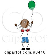 Royalty Free RF Clipart Illustration Of A Happy Black Stick Boy Releasing A Green Balloon