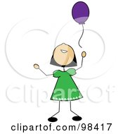 Royalty Free RF Clipart Illustration Of A Happy Asian Stick Girl Releasing A Purple Balloon by Pams Clipart