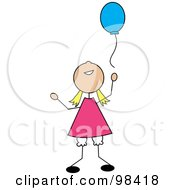 Royalty Free RF Clipart Illustration Of A Happy Blond Stick Girl Releasing A Blue Balloon
