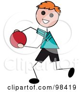 Royalty Free RF Clipart Illustration Of A Happy Red Haired Stick Boy Running With A Ball