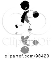 Royalty Free RF Clipart Illustration Of A Happy Black Silhouetted Stick Boy Running With A Ball