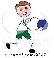 Royalty Free RF Clipart Illustration Of A Happy Brunette Stick Boy Running With A Ball