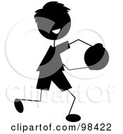Royalty Free RF Clipart Illustration Of A Happy Silhouetted Stick Boy Running With A Ball