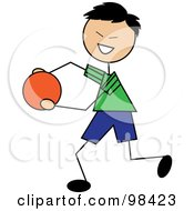 Happy Asian Stick Boy Running With A Ball