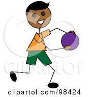 Royalty Free RF Clip Art Illustration Of A Happy Indian Stick Boy Running With A Ball
