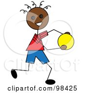 Royalty Free RF Clipart Illustration Of A Happy Black Stick Boy Running With A Ball