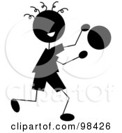 Royalty Free RF Clipart Illustration Of A Happy Silhouetted Stick Boy Bouncing A Ball