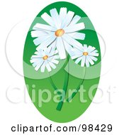 Royalty Free RF Clipart Illustration Of Three White Daisies Over A Green Oval by Pams Clipart