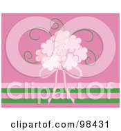 Royalty Free RF Clipart Illustration Of A Pink Bridal Bouquet And Ribbon Over Pink And Green