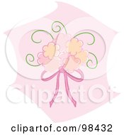 Royalty Free RF Clipart Illustration Of A Pink Bridal Bouquet With Pink Ribbons Over Pink