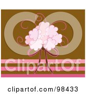 Royalty Free RF Clipart Illustration Of A Pink Bridal Bouquet And Ribbon Over Pink And Brown