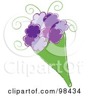 Royalty Free RF Clipart Illustration Of A Bouquet Of Purple Flowers In A Green Bag
