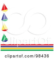 Royalty Free RF Clipart Illustration Of A White Background Bordered By Colorful Stripes And Sailboats