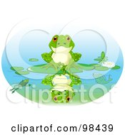 Royalty Free RF Clipart Illustration Of A Cute Frog Sitting On A Lily Pad With His Reflection On The Water by Pushkin