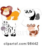 Royalty Free RF Clipart Illustration Of A Digital Collage Of A Happy Smiling Zoo Lion Panda Zebra And Monkey by yayayoyo