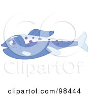 Blue Marine Fish With Purple Spots In Profile