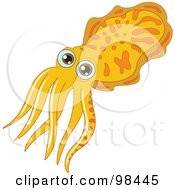 Yellow Squid With Brown Eyes And Orange Markings