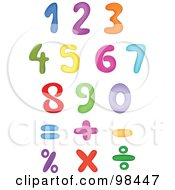 Royalty Free RF Clipart Illustration Of A Digital Collage Of Rainbow Colored Digits And Math Symbols by yayayoyo