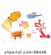 Royalty Free RF Clipart Illustration Of A Digital Collage Of A Squid Fish Crab Shells And Coral