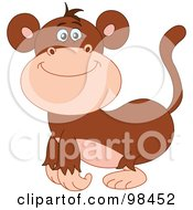 Royalty Free RF Clipart Illustration Of A Happy Smiling Zoo Monkey by yayayoyo
