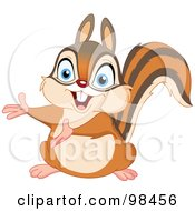 Royalty Free RF Clipart Illustration Of A Cute Squirrel Or Chipmunk Presenting With His Arms by yayayoyo