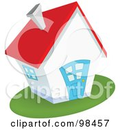 Royalty Free RF Clipart Illustration Of A Quaint White House With A Blue Door And Red Roof