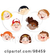Royalty Free RF Clipart Illustration Of A Digital Collage Of Happy Diverse Faces Of Children by yayayoyo