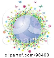 Colorful Flowers And Spring Butterflies Around A Blue Spring Time Globe