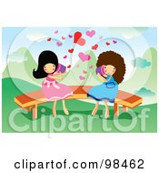 Royalty Free RF Clipart Illustration Of Two Happy Girls Talking Through Cans by mayawizard101