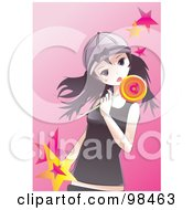 Royalty Free RF Clipart Illustration Of An Emo Girl Eating A Loli Pop by mayawizard101