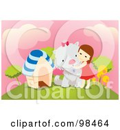 Royalty Free RF Clipart Illustration Of A Little Girl Hugging Her Giant Dog On A Hill by mayawizard101