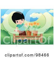Little Boy Tending To Potted Flowers