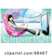 Royalty Free RF Clipart Illustration Of A Teen Girl Playing A Video Game In A Gamer Chair