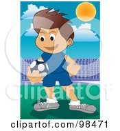 Royalty Free RF Clipart Illustration Of A Soccer Boy 3 by mayawizard101