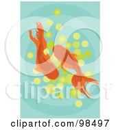 Royalty Free RF Clipart Illustration Of A View Down On Two Goldfish Over Green by mayawizard101